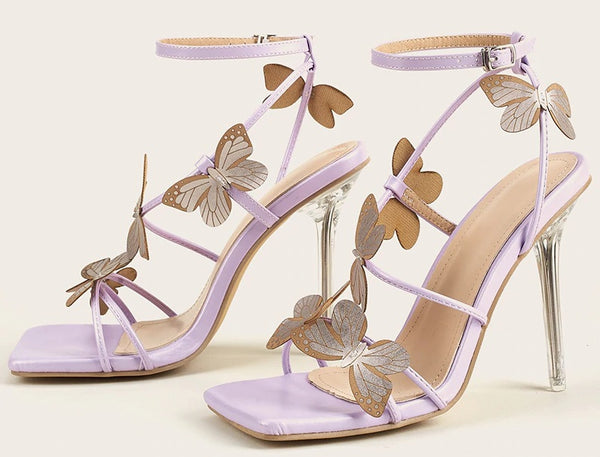Stripper Clear High Heels Sandals Butterfly Purple Heels CODE: KAR850