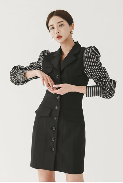 Striped Print Black Blazer Dress CODE: KAR867