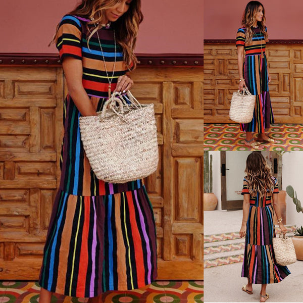 Evening Party Boho Maxi Casual Multicolor Stripe Print CODE: KAR800