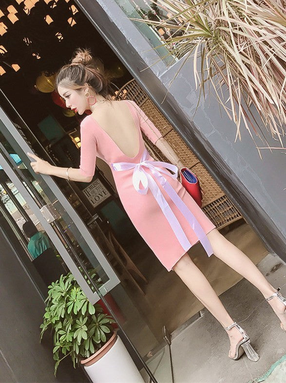 Sexy Backless Half Sleeve Brief Dress CODE: mon1128