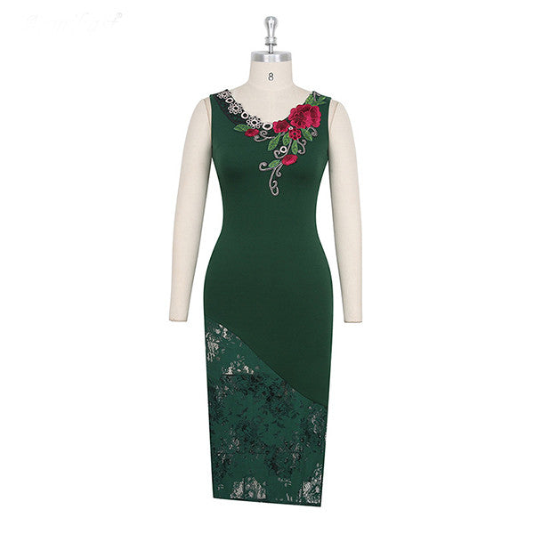 Lace Spliced Embroidery Dress CODE: mon1129