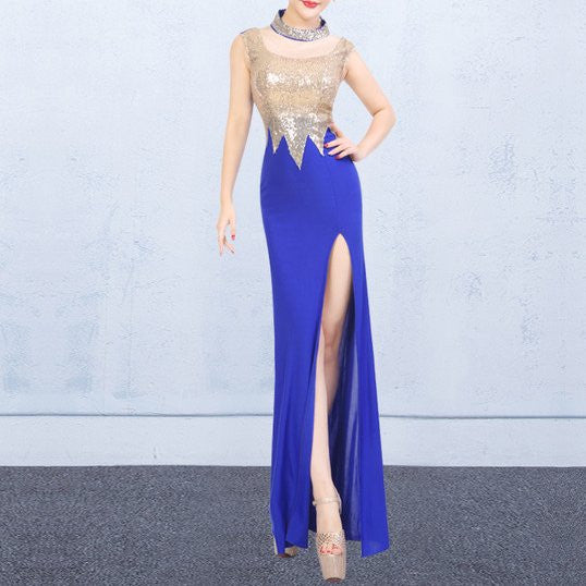 O-neck Sheer Slit Patchwork Sexy Long dress CODE: mon1140