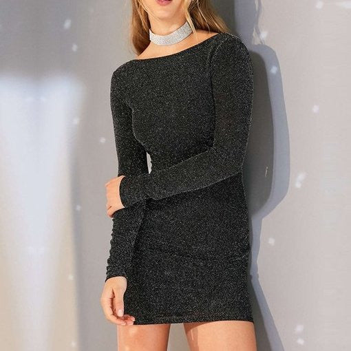 Long sleeves Skinny Pullovers Short O-neck Dress CODE: mon1143
