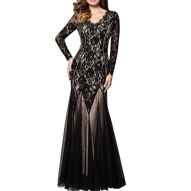 Long Sleeve Retro  Pullovers Lace Cut-out Long Dress CODE: mon1144