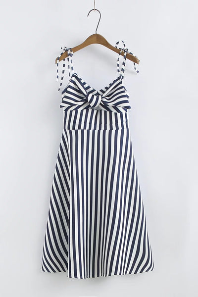 Bow Striped Straps Dress CODE: mon1159