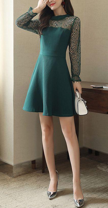 A-line Cute Spliced Long Sleeve Dress CODE: mon1165