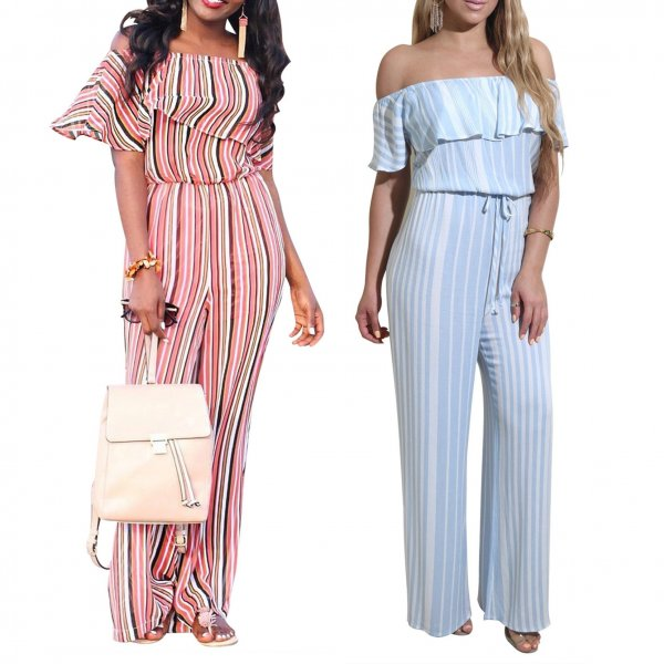 Slash Neck Striped Jumpsuit CODE: mon1187
