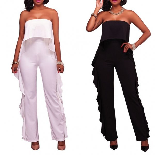 Straight Solid  Spliced Jumpsuit CODE: mon1188