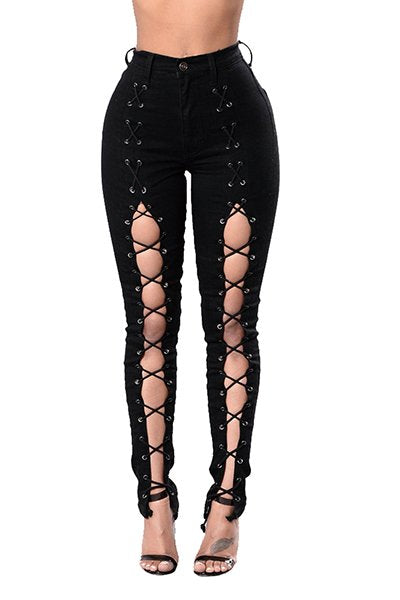 Cut-out Bodycon Fit Eyelet Fashion Skinny Jeans CODE: mon1201