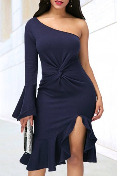 Flare Sleeve One Shoulder Sexy Dress CODE: mon1206