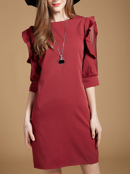 A-line Loose Three Quarter Sleeve Solid Dress CODE: mon1216