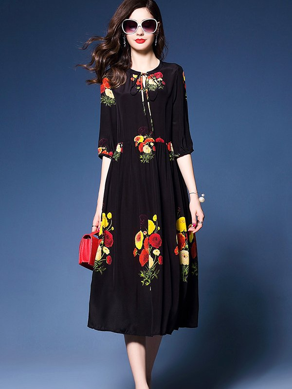 Round Neck Half Sleeve Long Print Dress CODE: mon1218