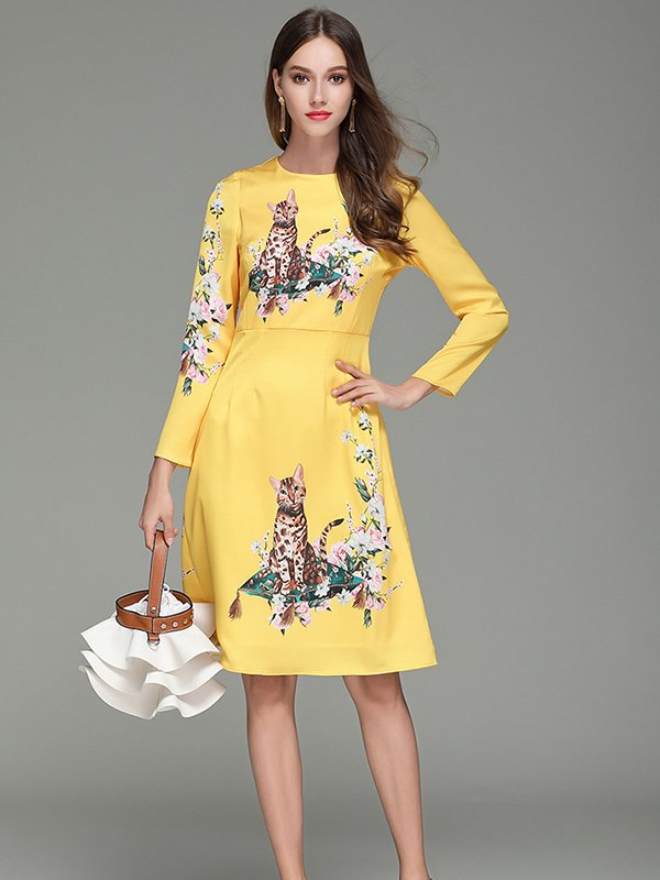 Round Neck Three Quarter Sleeve Elegant Print Dress Cat CODE: mon1222