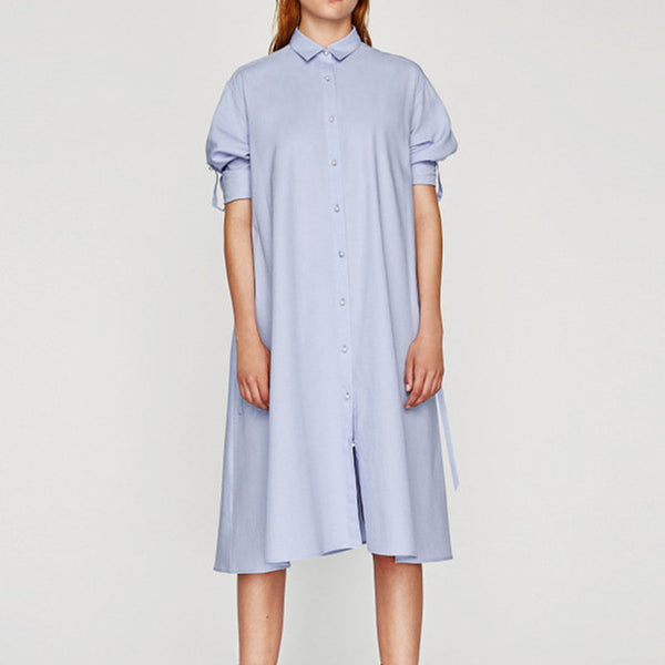 A-line  Shirt  SplicedTurndown Collar Solid Dress CODE: mon1233
