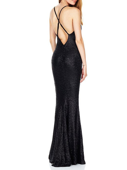 Maxi Backless Fit Solid Sexy  front  Slit Gown CODE: mon1234