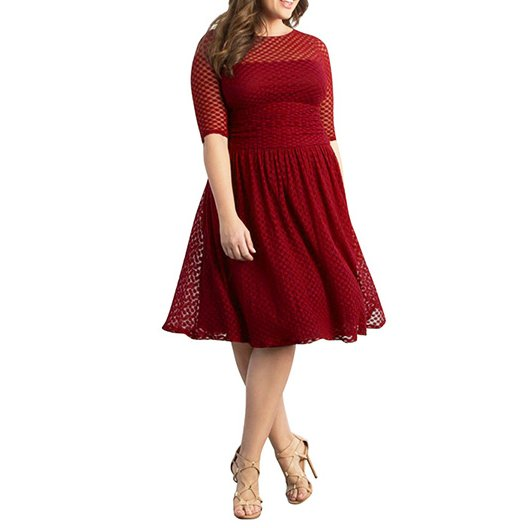 Polka Dot A-line Half Sleeve O-neck Sexy Hollow Out Big Size Dress CODE: mon1240
