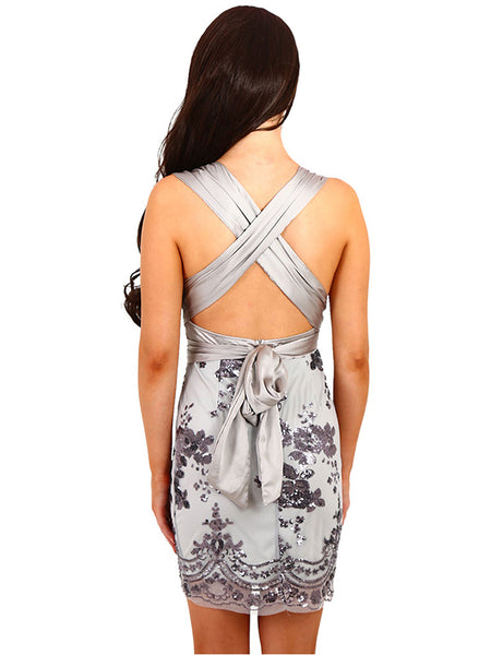 Backless Floral Sequined Low Cut Sexy V-neck  Dress CODE: mon1242