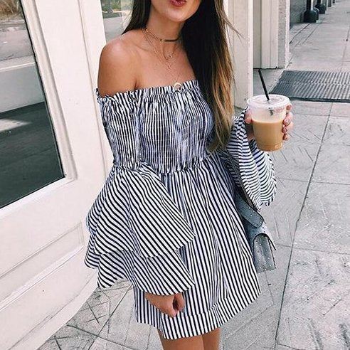 Boat Neck Spliced Off Shoulder striped Dress CODE: mon1246