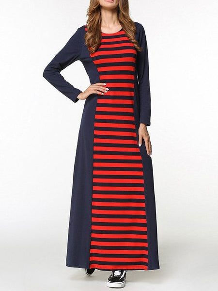 O-neck Long Sleeve Striped Pullovers long Dress CODE: mon1249
