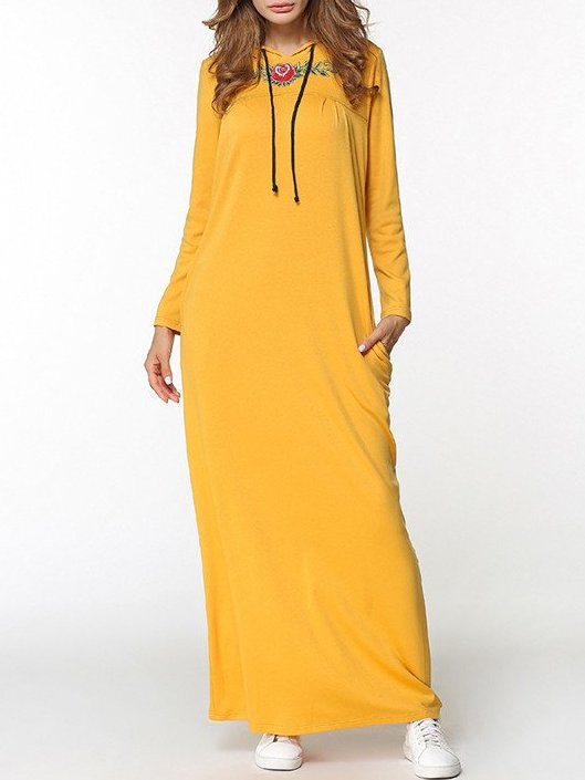 Long Sleeve Embroidery Pullovers long maxi Dress CODE: mon1250