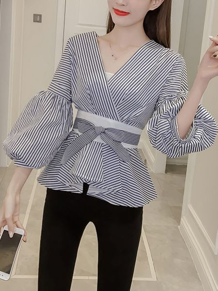 Short Puff Sleeve Striped Shirt Blouse top CODE: mon1279