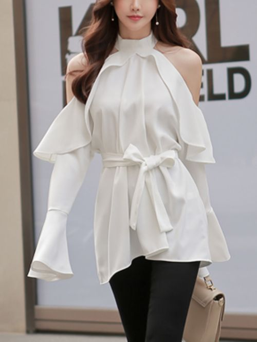 Long Sleeve Shirt Cold Off Shoulder Top Blouse CODE: mon1281