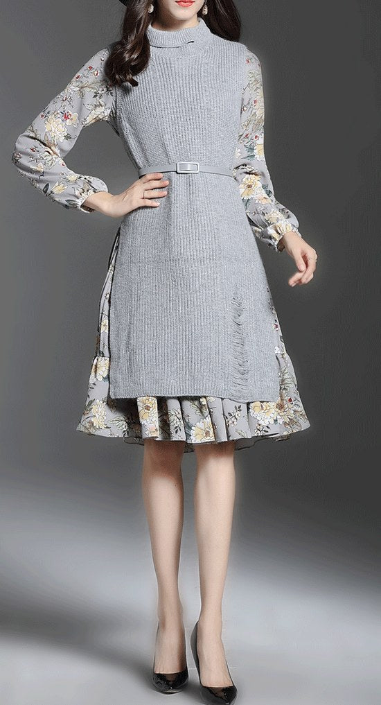 Long Half Sleeve Two Piece Set Chiffon Dress CODE: mon1290