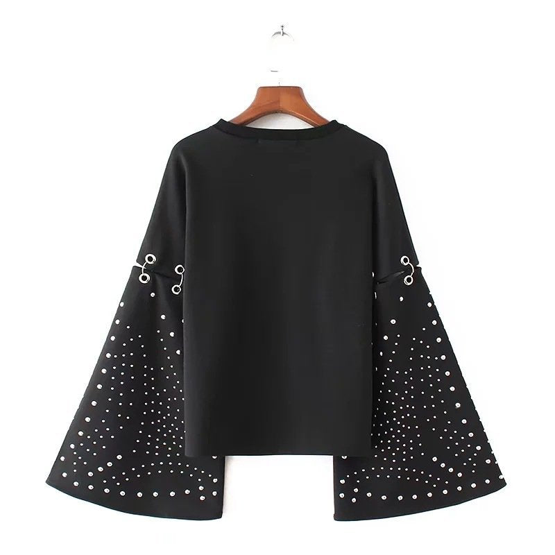 Spliced Cotton Pullovers Rivet Top Blouse Hoodies Sweatshirt CODE: mon1299