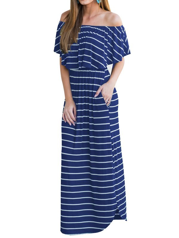 Off Shoulder Sexy Striped long Dress CODE: mon1302