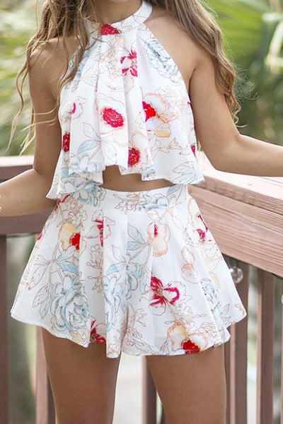 Halter Neck Floral Two Piece Set Top + Shorts  CODE: mon1305