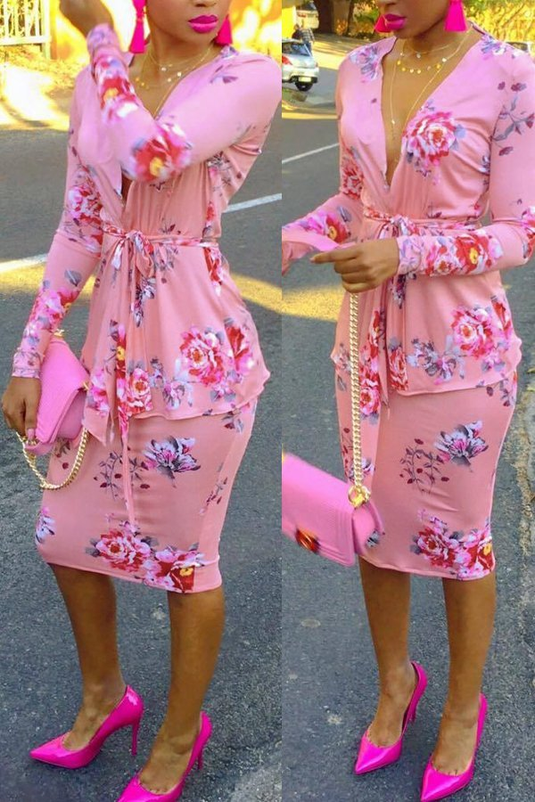 Long Sleeve Print Deep V-neck 2 piece set CODE: mon1310