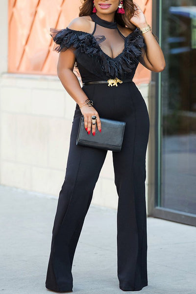 Sexy Lace Halter Neck Empire Waist Jumpsuit CODE: mon1316