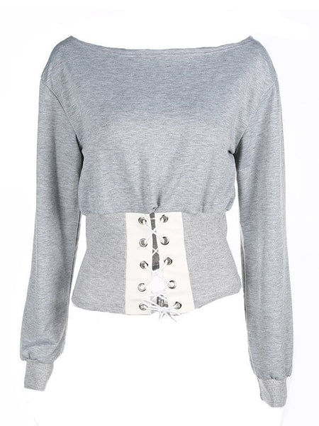 Eyelet Pullovers Long Sleeve  Sweatshirt CODE: mon1317