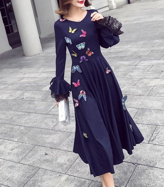 Long Sleeve Retro Long Butterfly Vintage Long Dress CODE: mon1323