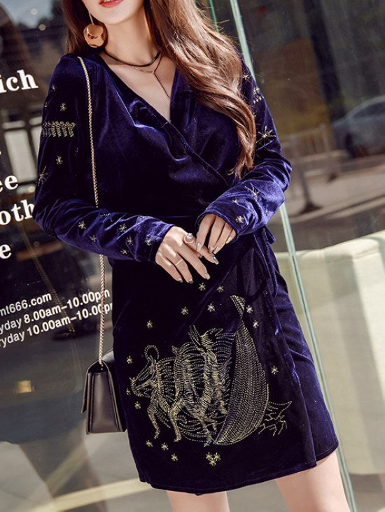 Deep V-neck Long Sleeve Velvet Embroidered Dress CODE: mon1329