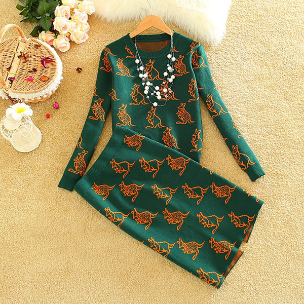 O-neck Kangaroo Pattern Knit Sweater Top + Skirt Set CODE: mon1369