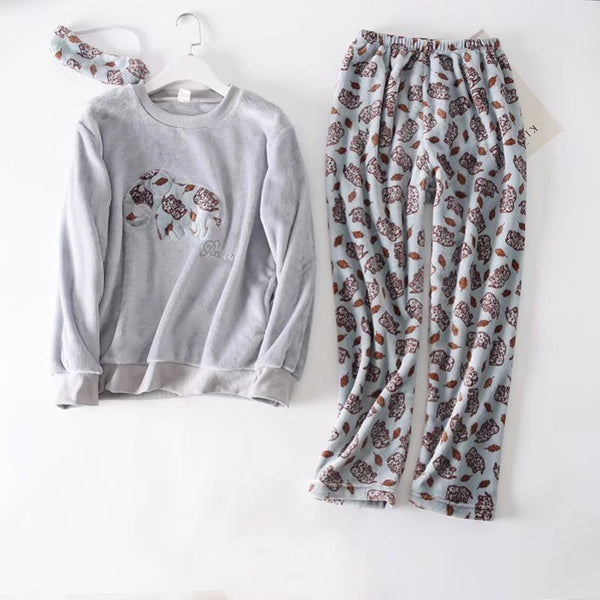 flannel Cartoon Print Pajama Sets Top + Pant Set CODE: mon1371