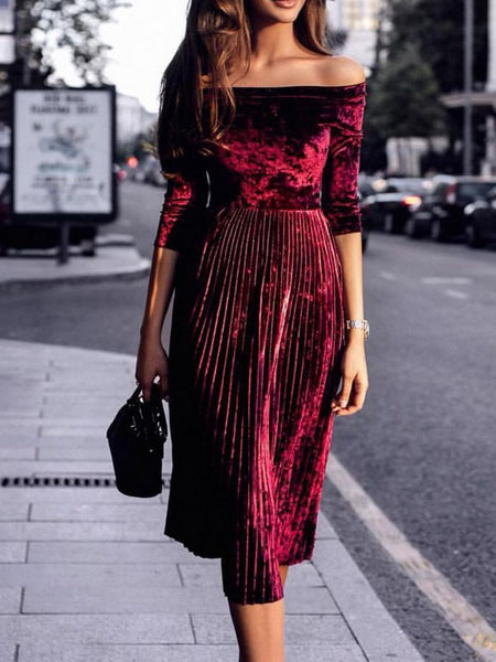 Pleated Sexy Fashion  Velvet Dress CODE: mon1374