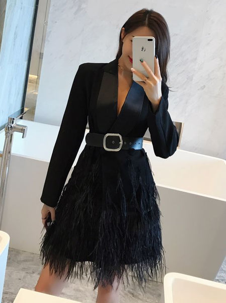 Spliced Long Sleeve Fashion Feathers Elegance Long Coat CODE: mon1376