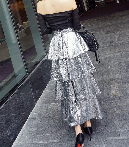 Sequins Handwork Flounce Long  Skirt CODE: mon1377