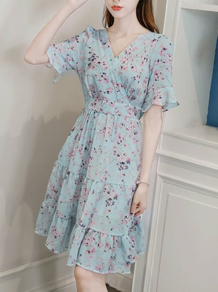 Boho V-neck Flower Chiffon dress CODE: mon1397