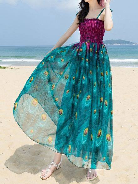 Monrsh Women's Peacock Feather Design Printed Maxi Dress CODE: MON845