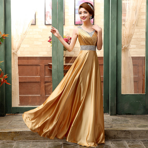 V-Neck Patchwork Floor-Length Evening Dress CODE:  READY252