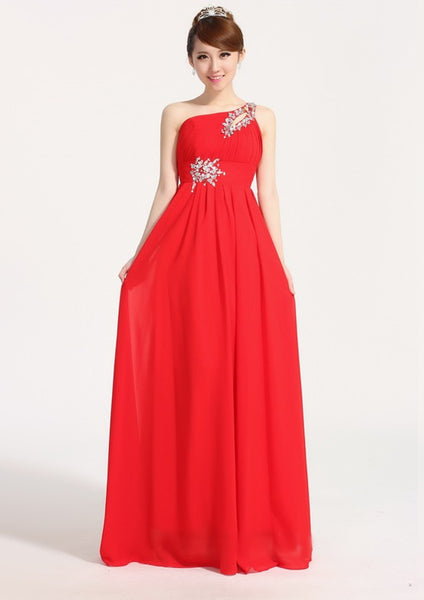 One Shoulder Chiffon Evening Dress CODE: READY253