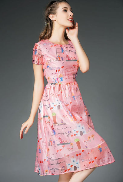 Graffiti print A-line Dress CODE: READY475