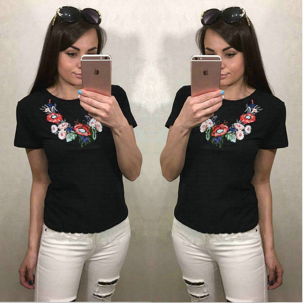 embroidered  T-shirt Tee Top CODE: READY547