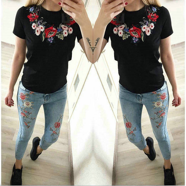 Flowers embroidered round neck Slim T-shirt Tee Top CODE: ready.547