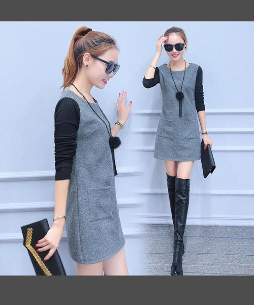 Woollen winter knit long-sleeved dress CODE: READY570