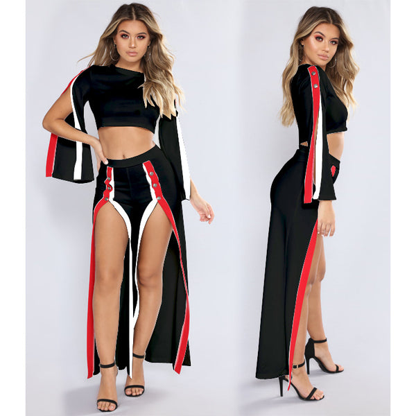 Stylish slit set two-piece suit CODE: READY592