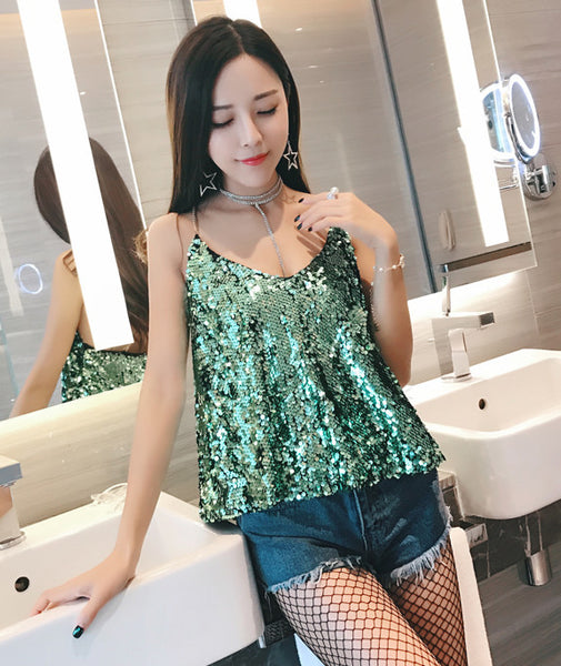 V-neck halter chain sequined Top CODE: READY628